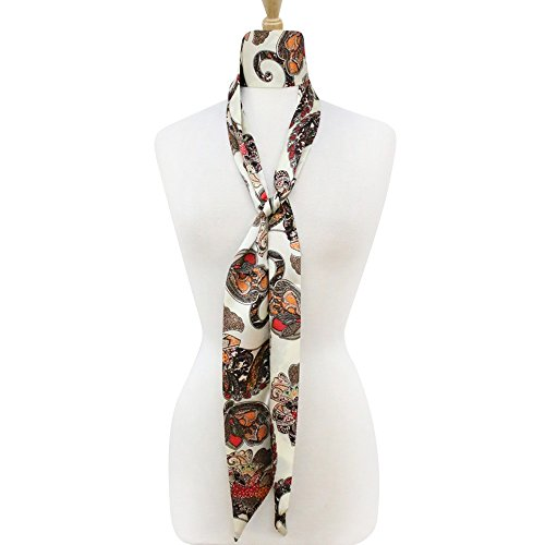 Multifunctional Fashionable Women's Skinny Thin Scarf Tie Sash Scarves Silky Satin Neckerchief Bag Band (75