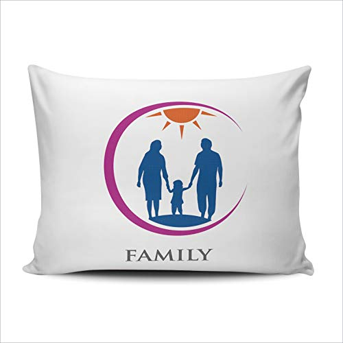 WULIHUA Pillow Covers Family Logo People Sofa Durable Modern Pillow Case Decorative Custom Throw Pillow Cases one Side Printed Queen 20x30 Inches