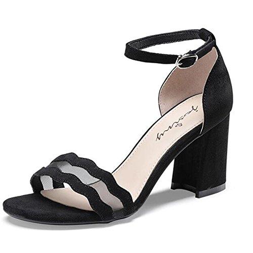 Noir 36 Boucle Rome Jingsen Étudiants Femme Chaussures Mot Coréenne Couleur Femmes Taille Hauts avec pour Noir Sauvage D'été Sandales Talons qzzwfUpH