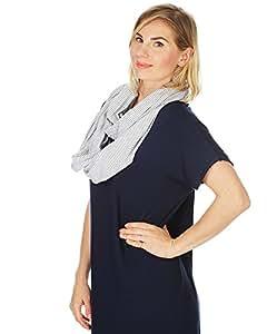 Kiddo Care Nursing Cover Infinity Nursing Scarf for Breastfeeding (Grey White Narrow Stripes)