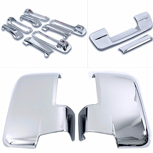 Cobra-Tek 2009-2012 Dodge Ram Chrome Door Handle Cover 4D (With Passenger Keyhole) & Mirror Cover With Turn Signal (Not Fit On Towing Mirror) Combo ()