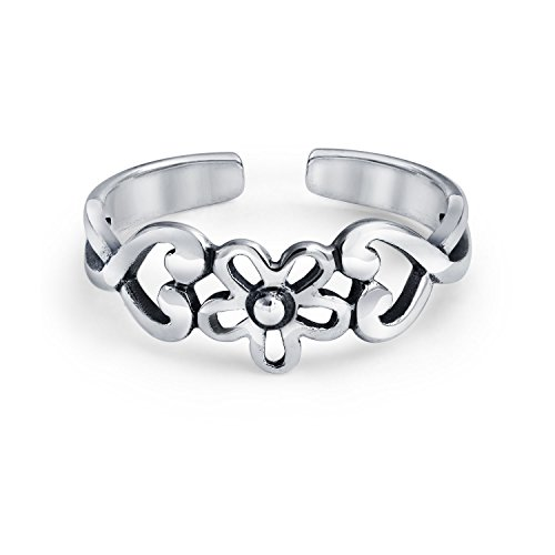Flowers and Heart Craved Swirl Cut Out Filigree Midi Band Toe Ring 925 Silver Sterling Mid Finger Adjustable ()