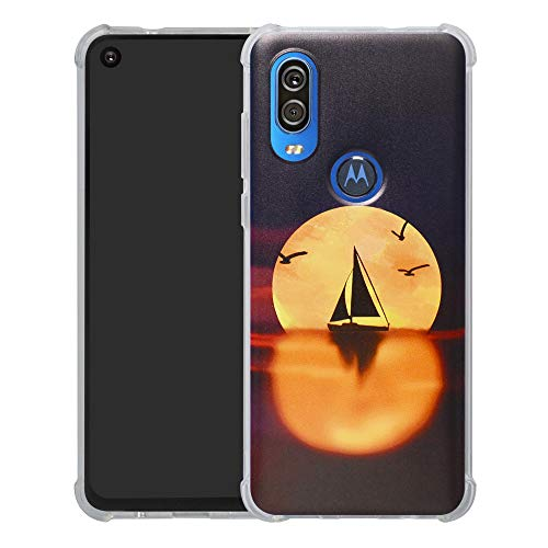 Motorola One Vision Case,HHDY [Ultra Lightweight] Reinforced [4-Corners Bumper] Flexible TPU [Pattern Design] Cover for Motorola One Vision,Sailboats & Moon
