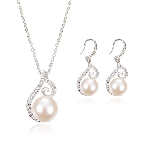 OULII Bridal Jewelry Earrings Necklace Two Sets Wedding Jewelry Suit