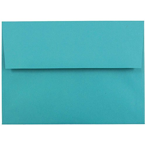 "JAM Paper A7 Invitation Envelopes- 5 1/4"" x 7 1/4"" Recycled - Brite Hue Sea Blue Recycled - 25/pack"