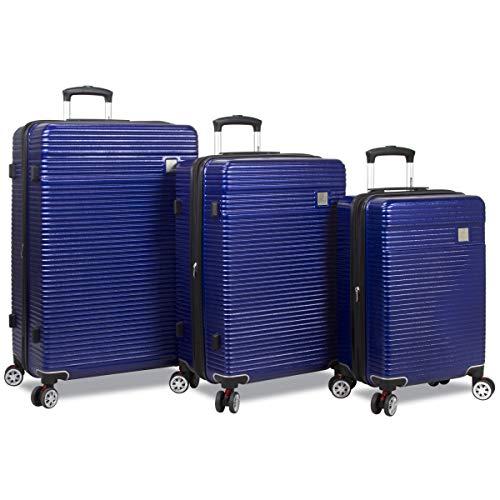 Dejuno 25DJ-8275-NAVY Ashford Hardside Spinner TSA Combination Lock Luggage Set44; Navy – 3 Piece