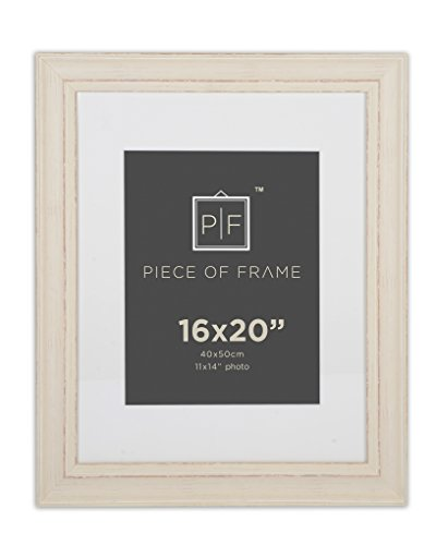 Cream Color Frame - Golden State Art 16x20 Cream Color Photo Frame, Shabby Chic Pattern, with Ivory Mat for 11x14 Picture or Photo, and Real Glass