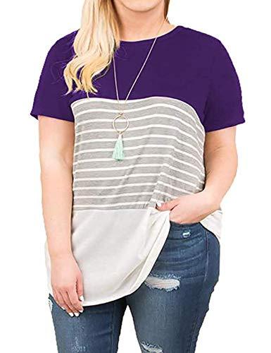 Kancystore Women's Plus Size Short Sleeve Shirts Summer Casual Striped T-Shirt Tunic Tops XL-5X (5XL, Purple)