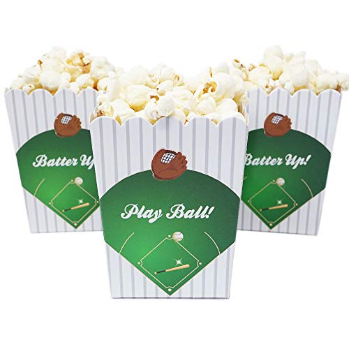 Sports Themed Mini Popcorn Favor Boxes for Birthdays, Sport Events, and Customized Parties - 20 Count (Baseball Party)
