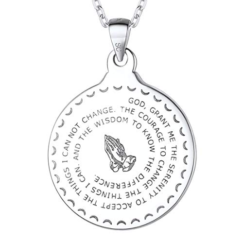 (U7 925 Sterling Silver Coin Medal Praying Hands Necklace Chain 20
