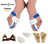Doctor's Touch 7pc Bunion Protector Sleeve Kit, Strengthen and Treat Hallux Valgus, Bunion Corrector and Bunion Splint Relief Kit