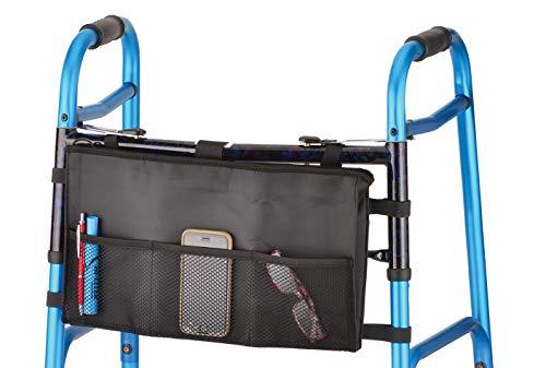 NOVA Medical Products NOVA Walker Bag, Tote Bag for Walkers, Universal Fit on All Folding Walkers, Black, 12.8 Ounces
