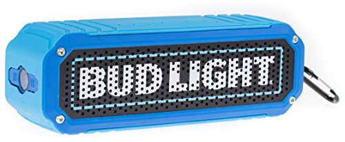 Bud Light Bluetooth Speaker, Wireless Shock Proof Rugged Audio Sound Stereo Music Player Water Resistant LED Flashlight all-in-one BudLight Bluetooth Ultra Grip Portable Travel Speaker- Beer Speaker