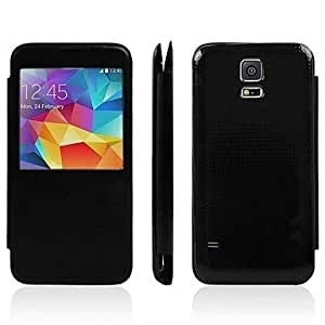 Zaki- ships in 48 hours Caller ID window with Battery Back Cover PU Leather Case for Samsung Galaxy S5 i9600