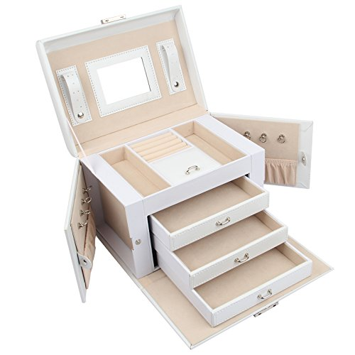 Jewel Cabinet - Homde Jewelry Box Necklace Ring Storage Organizer Synthetic Leather Large Jewel Cabinet Gift Case (White)