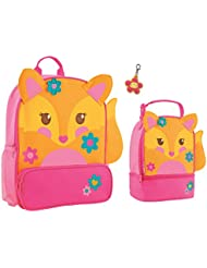 Stephen Joseph Girls Sidekick Fox Backpack and Lunch Pal with Flower Zipper Pull