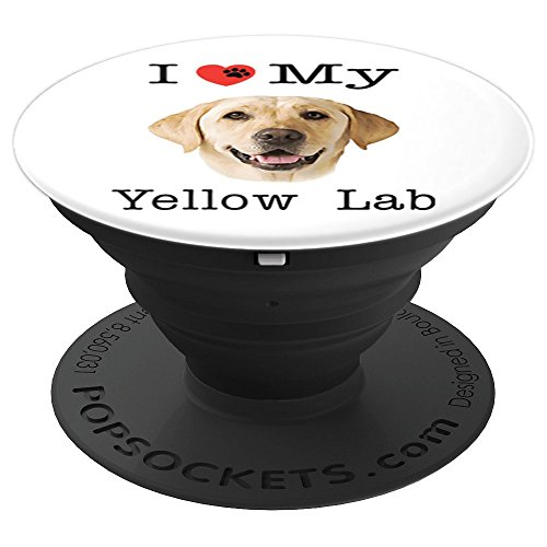- I Heart Love My Yellow Lab Portrait of Labrador Face - PopSockets Grip and Stand for Phones and Tablets