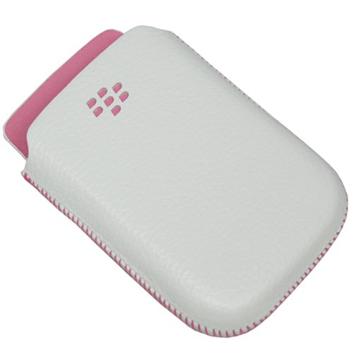 BlackBerry White with Pink Accent Leather Pocket Pouch Case for BlackBerry Torch 9800