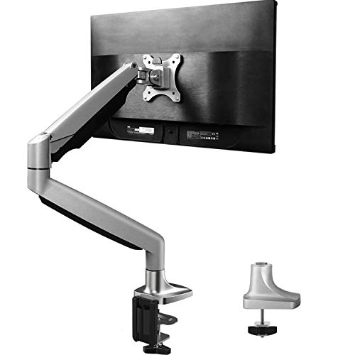 HUANUO Single Arm Monitor Stand - Premium Aluminum Gas Spring Monitor Desk Mount, Adjustable Computer Riser with Clamp, Grommet Mounting Base for 13 to 32 Inch Screens VESA 75X75 ()