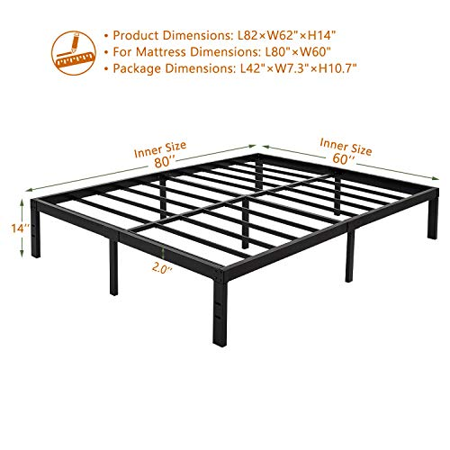 ZIYOO 14 inch Heavy Duty Steel Slat Platform Bed Frame, Strengthen Support Mattress Foundation, Noise Free, Queen