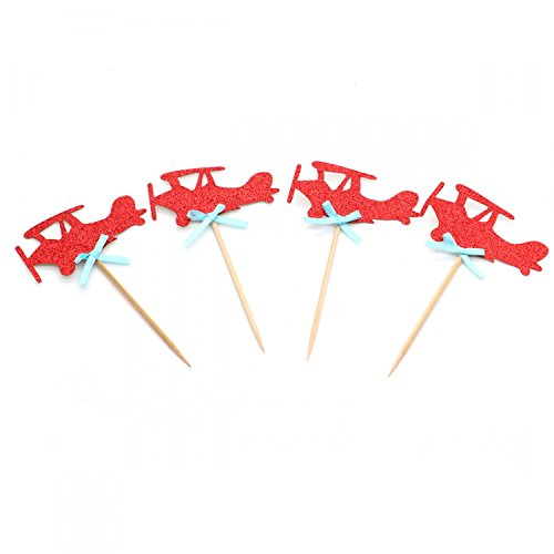 HUELE 40 Pack Red Airplane Cupcake Toppers Red Glitter Vinta