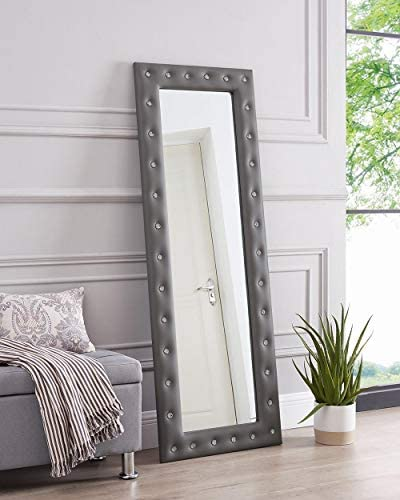 Naomi Home Crystal Tufted Mirror Gray