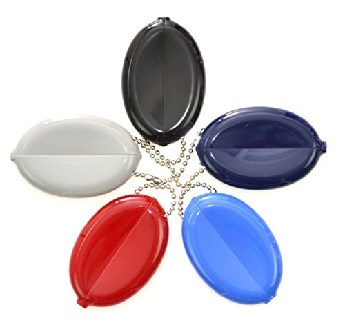Quikoin Original Oval Sof-Touch Squeeze Coin Purse Made in USA (5 Quikoins - Mix - Pocket Coin Holder