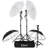 Kshioe 600W Photography Triple Photo Umbrella Lighting Kit, Video, Umbrella Continuous Lighting Kit, CFL Photo Bulbs, Black/Silver & White Umbrella Reflector, Light Stand, Carrying Case