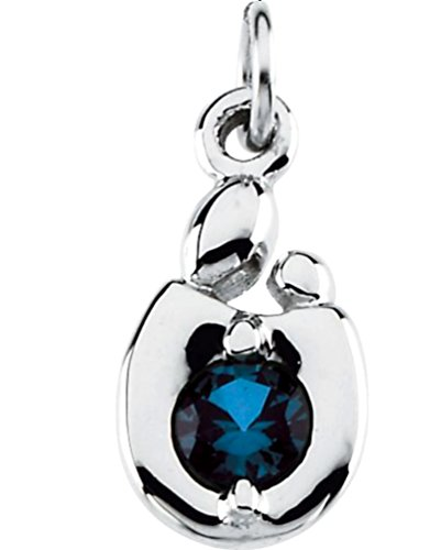 Mother and Child 14k White Gold July Birthstone Charm by The Men's Jewelry Store (for HER)