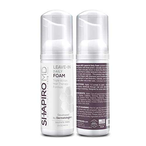 Shapiro MD Leave-In Daily Foam - Triple Action Hair Therapy Formula - Thicker, Fuller, and Healthier Hair (1 Month Supply)
