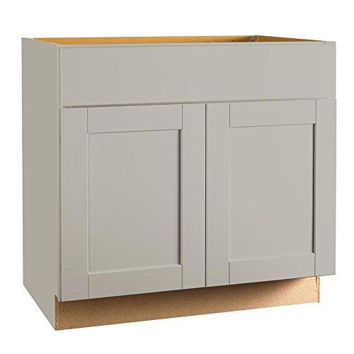Hampton Bay Shaker Assembled 36 x 34.5 x 21 in. Base Bath Vanity Cabinet in Dove Gray ()