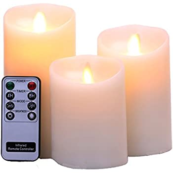 "Flameless Candles 4"" 5"" 6"" Set of 3 Ivory Real Wax Pillars & Moving Flame Wick LED Candles and 8-Key Remote Control with Timer Function,Battery Operated"