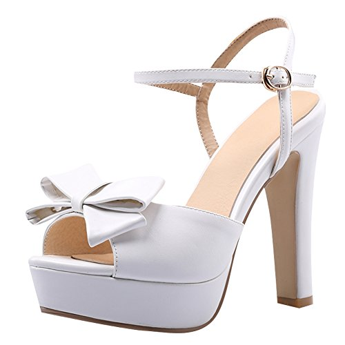 Carolbar Womens Bows Buckle Platform High Heel Bridal Dress Sandals White o9dTzJFZ