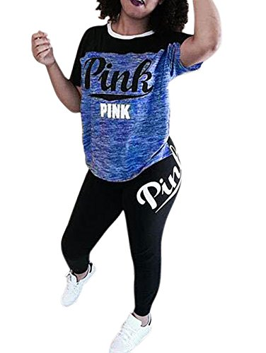 Corala Women 'Pink' Letter Print Short Sleeve Crop Top Bodycon Long Pant 2 Piece Outfits