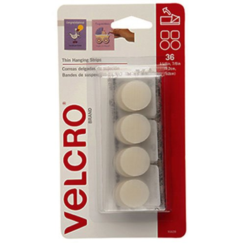 "VELCRO Brand - Thin Hanging Strips: Adhesive that removes cleanly - 7/8"" Coins / 1.25"" Squares, 36 Sets, 1/4 lb - White"