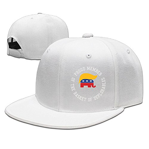 Karoda Proud Member Of The Basket Of Deplorables Flat Brim Baseball Caps Hip Hop Hat White