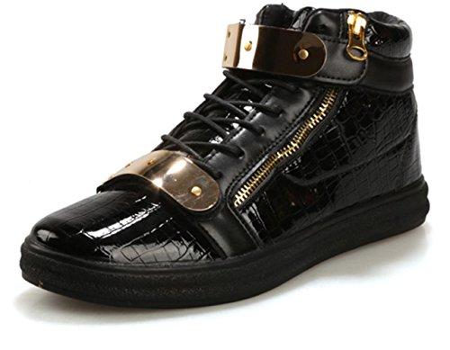 CSDM Uomo Casual Fashion Aiuto Aiuto Piattaforma di metallo Scarpe da tavolo Scarpe da basket Pattini correnti di sport , black , 44