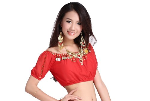 ZLTdream Belly Dance Lanterns Short Sleeve Bra Top With Chest Pad Red (Red Belly Dancing Costume)