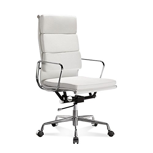 Artis Decor Soft Pad Low and High Back Executive Office Chair Made with Upholstered Genuine Italian Leather, Swivel and Polished Aluminium Frame - High Back White (Armless Chair Designer Fabric)
