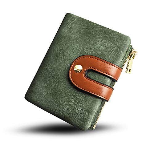 Women's RFID Bifold Leather Small Wallet Ladies Mini Purse with Coin Pocket,Soft Compact Thin Wallet (green) ()