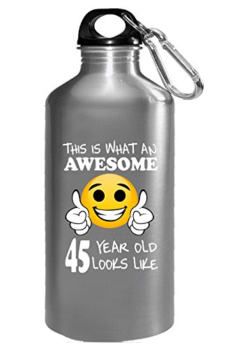 Emoji Birthday 45th Birthday Presents Men 45 Year Old Gift - Water Bottle