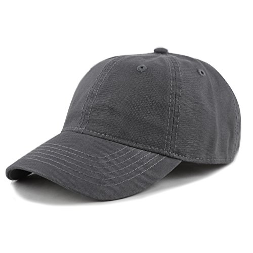 THE HAT DEPOT 100% Cotton Canvas 6-Panel Low-Profile Adjustable Dad Baseball Cap (Charcoal)