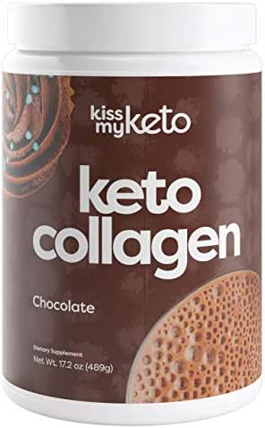 Kiss My Keto Protein Powder Chocolate — Keto Collagen Protein Powder + C8 MCT Oil (5g) | Low Carb Keto Shake (Chocolate Cocoa Flavor), Sugar Free | Mix with Coffee, 25 Servings