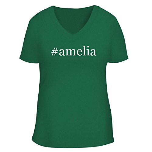 BH Cool Designs #Amelia - Cute Women's V Neck Graphic Tee, Green, (Amelia Earhart Luggage)