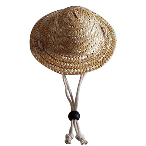 Straw Hat Pet Hat Costumes Cute Hat Cap with Adjustable Drawstring for Beach Garden Outdoor Party ()