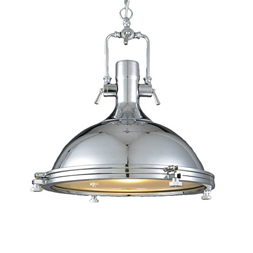 Frosted Diffuser Ceiling Light, Motent Industrial 18 inches Dia Nautical Retro Iron Dome Pendant Light Mounted Fixture for Living Room Boutique Outlet Bookstore - Chrome - Chrome Dome Light