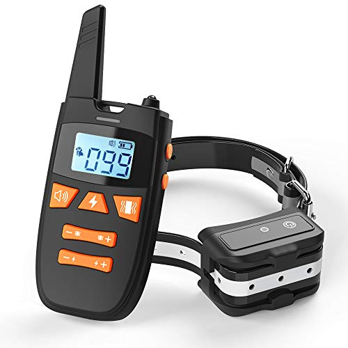 Teaker Dog Training Collar with Remote, Rechargeable Shock Collar Up to Remote Range 2000FT & IPX7 Level Waterproof with Beep/Vibration/Shock 3 Training Modes for Small Medium Large Dogs, All Breeds