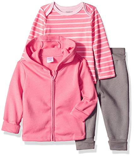 (Hanes Ultimate Baby Flexy Jogger with Long Sleeve Crew and Fleece Hoodie, Pink Fun, 6-12 Months)