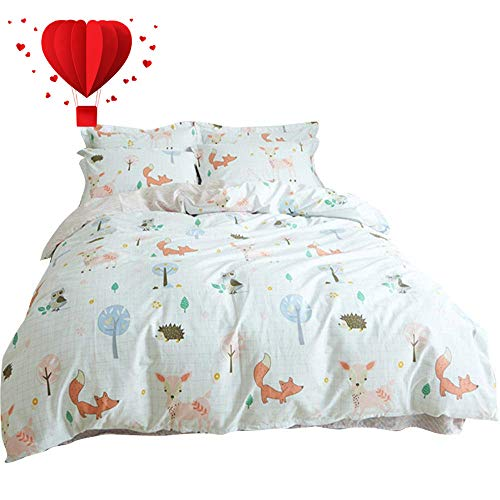 BuLuTu Animal Duvet Cover Twin White 100% Cotton,3 Pieces Woodland Kids Bedding Sets Twin for Boys Girls,Hedgehog Fox Deer Owl Print Twin Duvet Cover and 2 Pillowcases,No Comforter -
