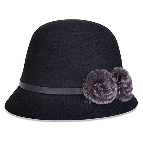 Vbiger Bowler Hat Fedora Derby Hats Vintage Cloche Hats Bucket Hats for Women (Ladies Bucket Hat)
